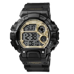 Q & Q Digital Sports Men's Black And Yellow Gold Dial Watch