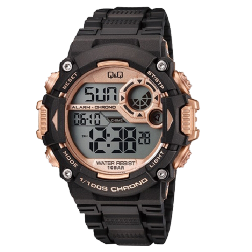 Q & Q Digital Sports Men's Black And Rose Gold Dial Black Case Watch