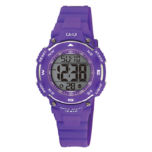 Q & Q Digital Sports Men's Black Dial Purple Case Wrist Watch