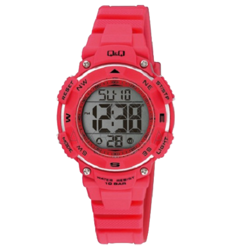 Q&Q Digital Sports Men's Black Dial Red Case Wrist Watch