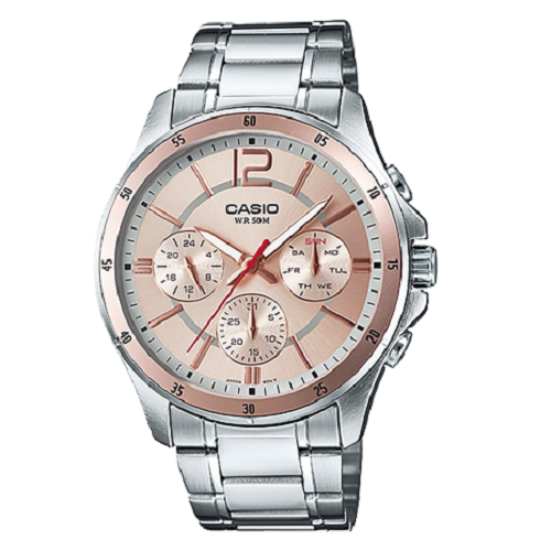 Casio Analog Men's Stainless Steel Strap Multi Dial Watch
