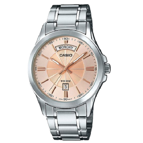 Casio Round Enticer Rose Gold Dial Silver Gents Analog Watch