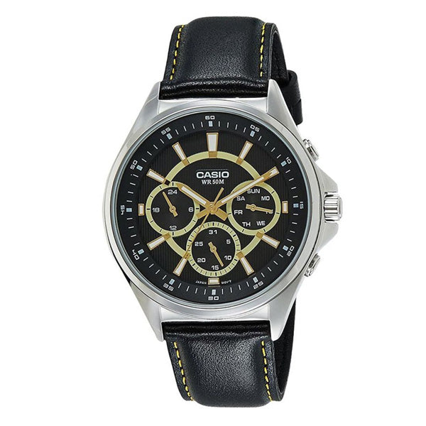 Casio Men's Black Leather Multi-Function Black Dial Watch