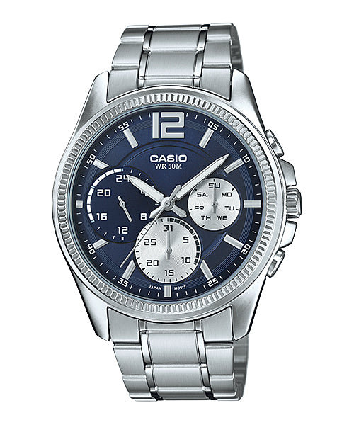 Original New Casio Silver Steel Men's Watch Day & Date