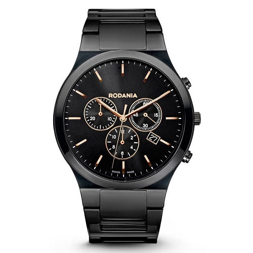 Rodania Male Swiss Black Lon Plated  Chronograph Wrist Watch