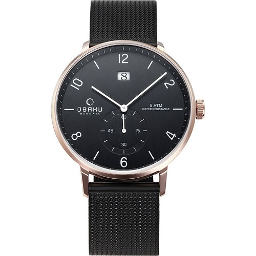 Obaku Mens Fashion Rislen Night Black Dial Watch