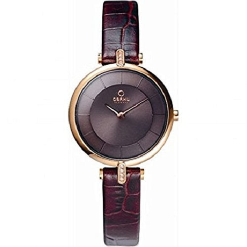 Obaku Ladies  Brown Dial Leather Strap Watch