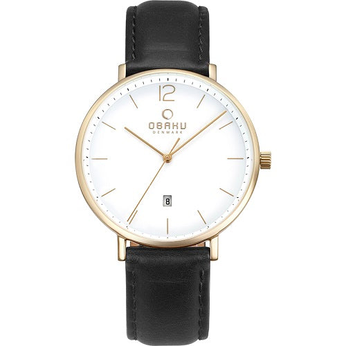 Obaku Men's Toft Quartz Gold Tone Black Leather Watch