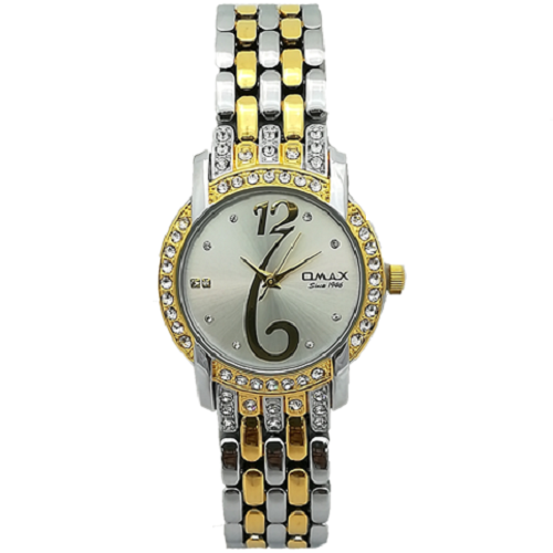 Omax Analog Silver Dial Tow Tone Women's Watch