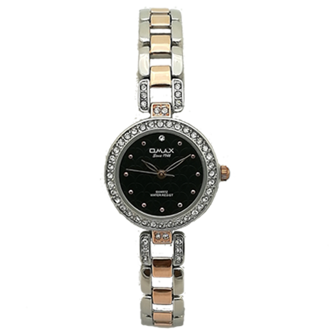 Omax Lady Tt Chain Black Dial Two Tone Watch