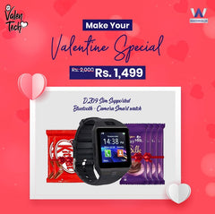 DZ09 Sim Supported Smart watch with free Gift of Chocolates - Valentine Special