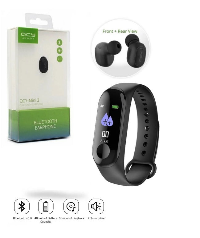 BUNDLE DEAL (Pack of 2)-M3 Health Band+QCY Mini 2 Bluetooth Handsfree