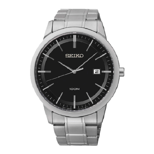 Seiko Black Dial Analog Stainless Steel Men's Watch