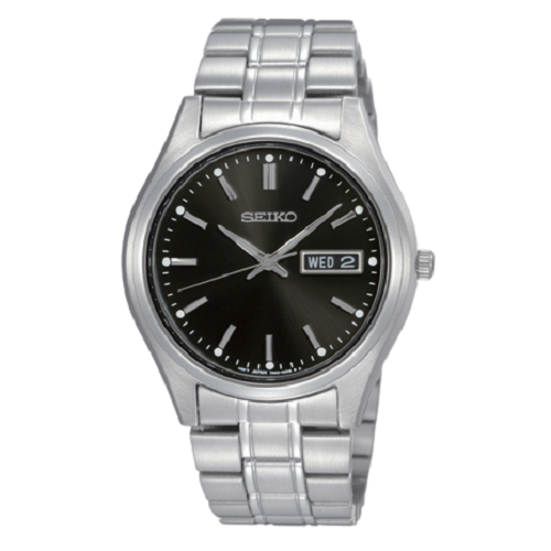 Seiko Men's Black Dial Day Date Stainless Steel Watch