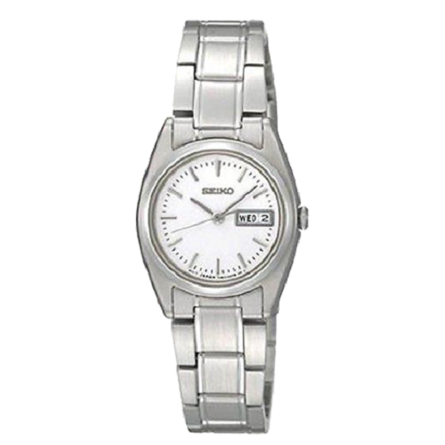Seiko Lady's White Dial Stainless Steel Belt Sapphire Dress Watch