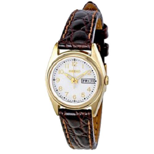 Seiko Ladie's Crystal Gold Tone Leather Stainless Steel Watch