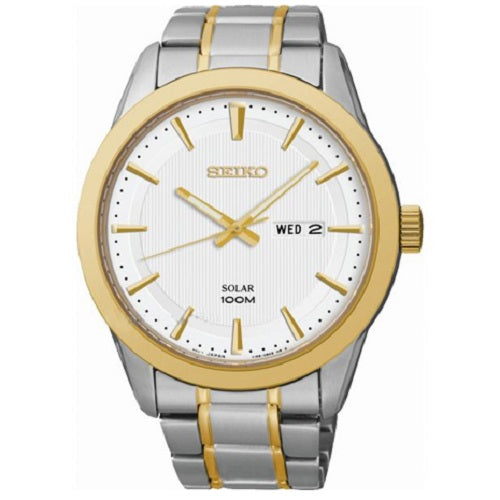Seiko Men's Dress Solar Powered Analog Silver Gold Watch