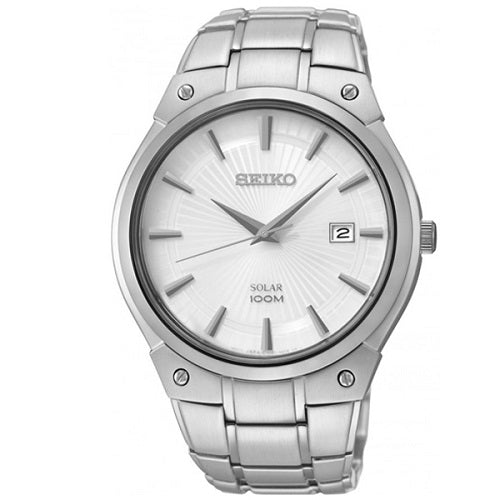 Seiko Solar Hardened Crystal Stainless Steel Men's Watch