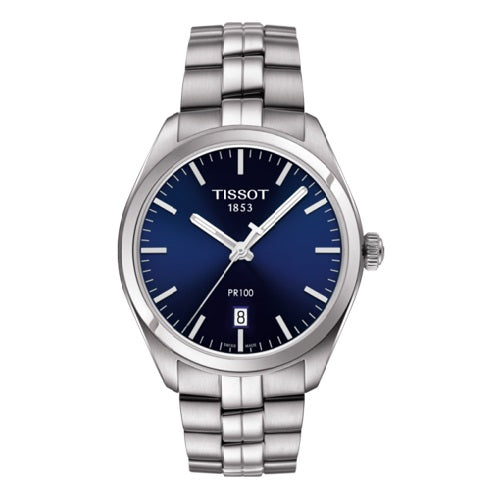 Tissot PR 100 Blue Dial Stainless Steel Quartz Men's Watch