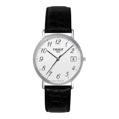 Tissot T-Classic White Dial Black Leather Men's Watch
