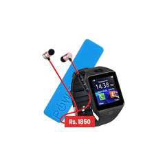 Pack of 3 -DZ09 Smart Watch+Power Bank+BT Handsfree