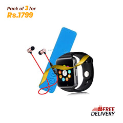 Pack of 3 - W08 Smart Watch + Power Bank + BT Handsfree with Free Delivery