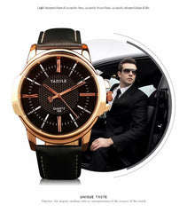 YAZOLE BUSINESS FORMAL WRIST WATCH FOR MEN-ROSE GOLD CLASSIC