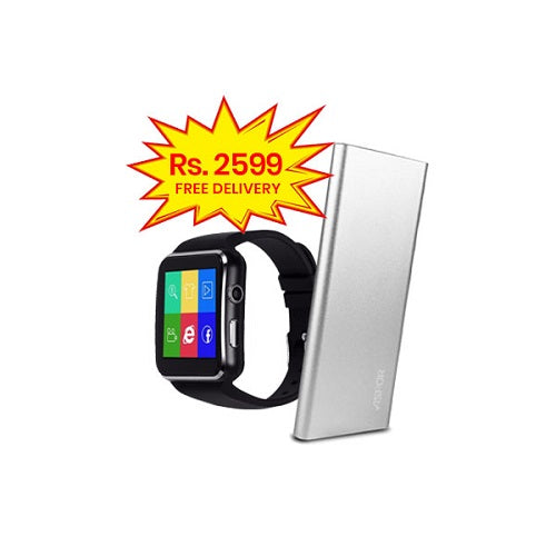 BUNDLE DEAL (Pack of 2)-X6 Smart Watch+ASPOR POWER BANK 6000MAH POLYMER AIR ULTRA THIN A373