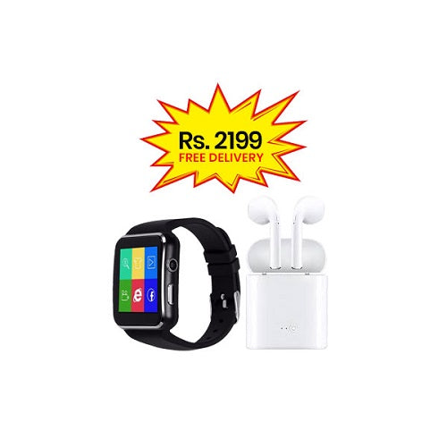 BUNDLE DEAL (Pack of 2)-X6 Smart Watch+Twin i7s Bluetooth Handsfree with pocket charging Dock