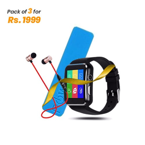 Pack of 3 - X6 Smart Watch + Power Bank + BT Handsfree