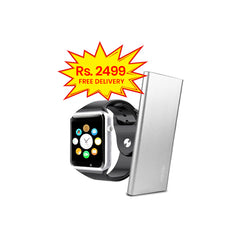 BUNDLE DEAL (Pack of 2)-W08 Smart Watch+ASPOR POWER BANK 6000MAH POLYMER AIR ULTRA THIN A373