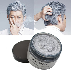 Professional Silver Grey Color Hair Wax Pomade Disposable Natural Hair Strong Style Gel Cream Hair Dye for Women Men 120g