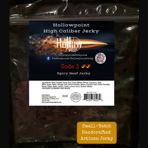 Code 3 Hot Beef Jerky Hollowpoint Jerky 3 ounces