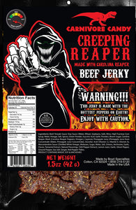 "Creeping Ghost"" Carolina Reaper Beef Jerky 1.5 oz Bag The Reaper is the HOTTEST Pepper in the world! Sweet with Heat~ (1.5 ounce single pack)"