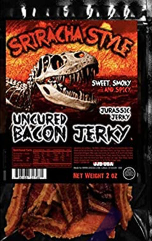 JURASSIC JERKY Sriracha Hot Sauce Uncured Bacon Jerky
