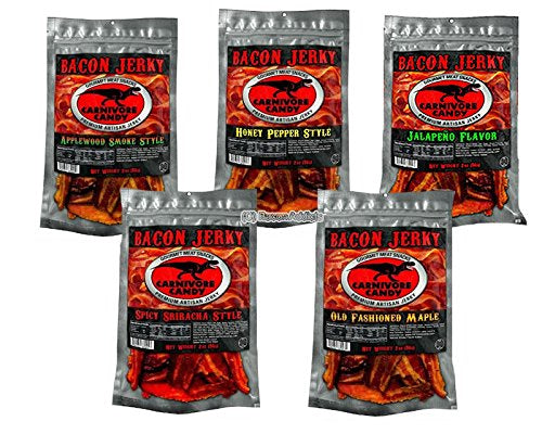 A Carnivore Candy Bacon Jerky 5 Flavor Sampler Pack (5 x 2oz Bags): Sriracha, Maple, Applewood Smoke, Honey Pepper & Jalapeño