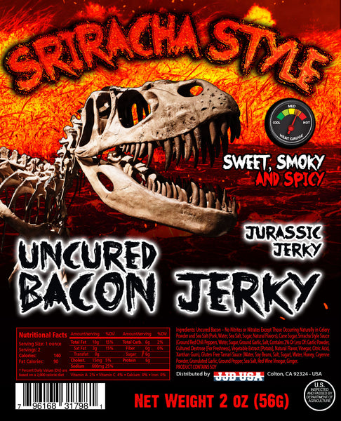 Jurassic Jerky Spicy Sriracha Bacon (3) pk $19.99  *Keto Friendly Snack