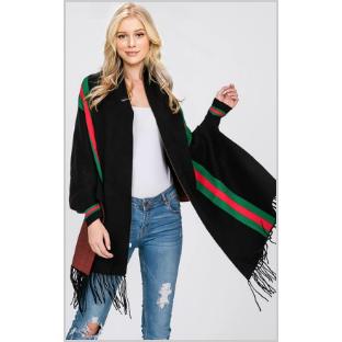 Stripe Accent Sleeve Cape Shawl with Fringe