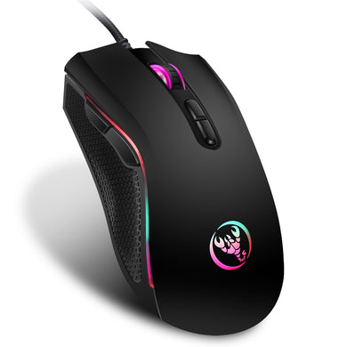 gaming mouse with 7 bright colors LED backlit and ergonomics design