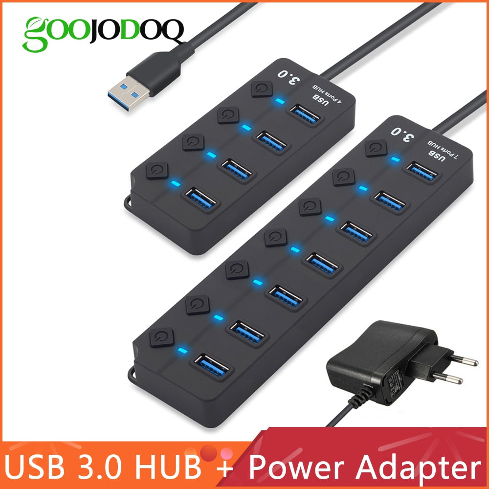 USB Hub 3.0 High Speed 4 / 7 Port On/Off Switch Power Adapter
