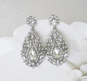 Crystal Chandelier Earrings for Wedding Day