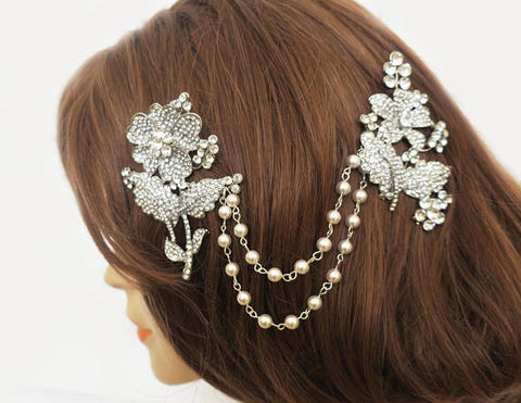 Gatsby bridal headpiece, bohemian vintage wedding accessories, wedding hair drape