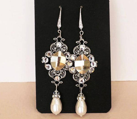 vintage falir bridal earrings, Swarovski wedding adornments, champagne crystal earrings, sterling silver bridal jewellery