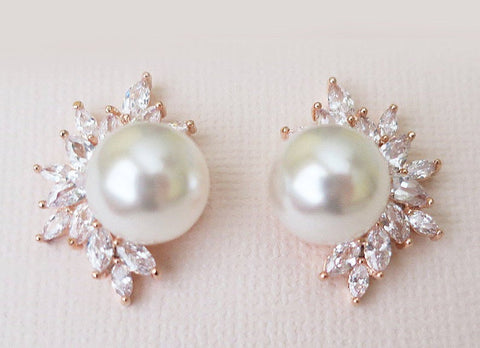 Diamond and Pearl stud earrings, pearl earrings, pearl wedding earrings