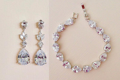 cubic zirconia earrings, diamond earrings, bridal jewellery set