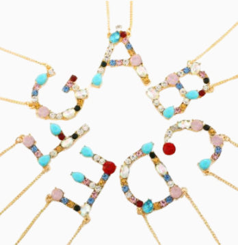 Multicolor Letter Charm Necklace