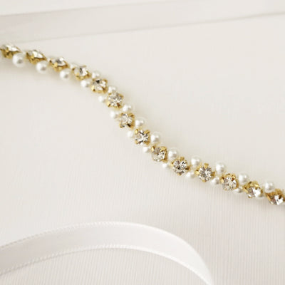Gold Bridal Belt with Pearl and Crystal