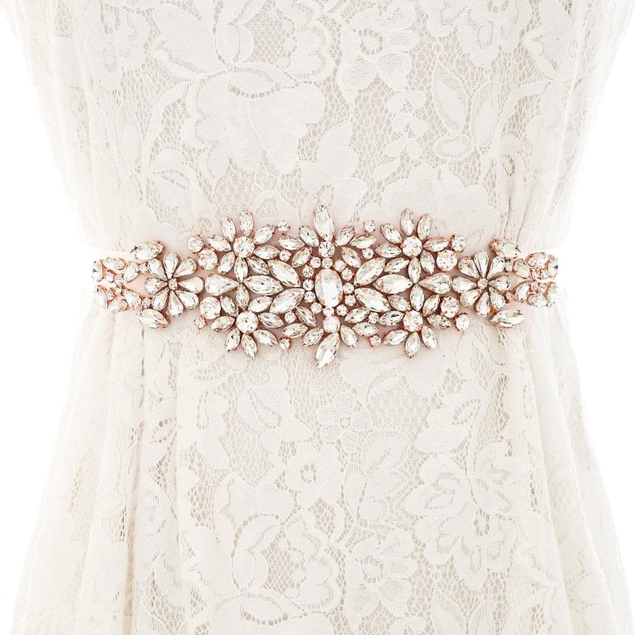 Rose Gold Crystal Handmade Wedding Dress Belt