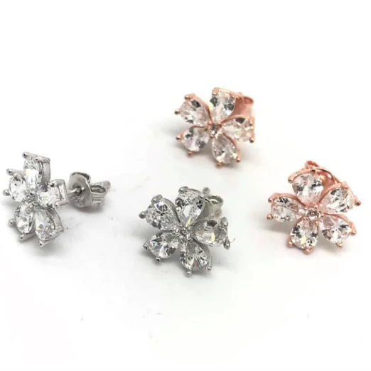 CZ Flower Earrings with 925 Silver
