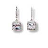Princess Cut Crystal Dangle Earrings with Sterling Post